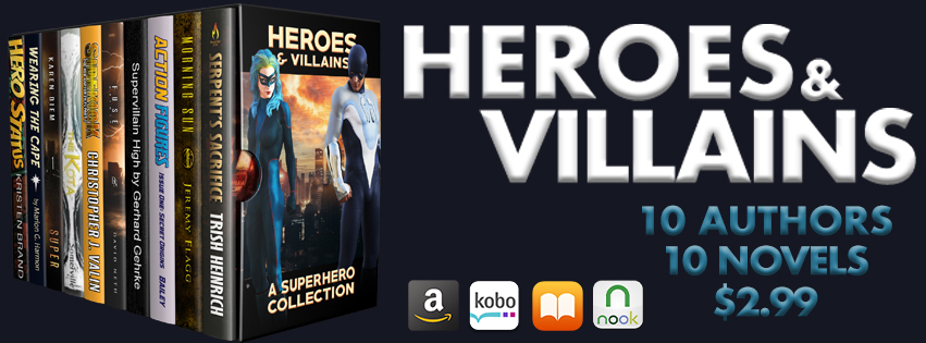 An image of the cool Heroes & Villains collection as a box set and the logos of the stores that love it